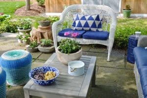 patio furniture with navy cushions