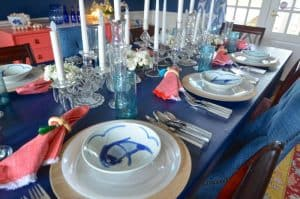 place settings on navy table