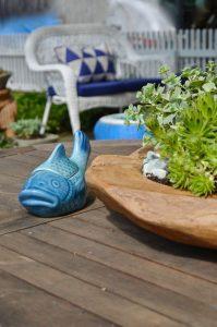 planter and ceramic fish