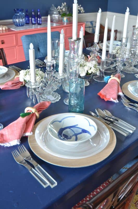 tablescape in eclectic dining room