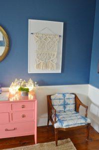tie dye chair in the corner