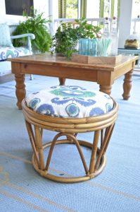 upholstered rattan ottoman