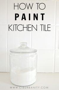 How to paint kitchen backsplash tile for an easy makever.