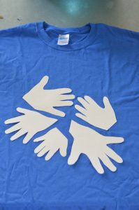 layout of handprints on t-shirt