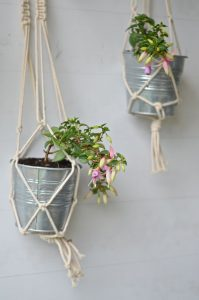 pair of macrame planters