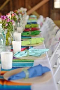 colorful napkins at table