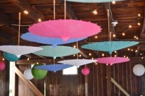 colorful parasols as decor
