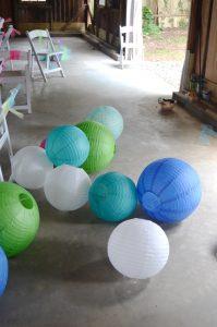 paper lanterns on floor