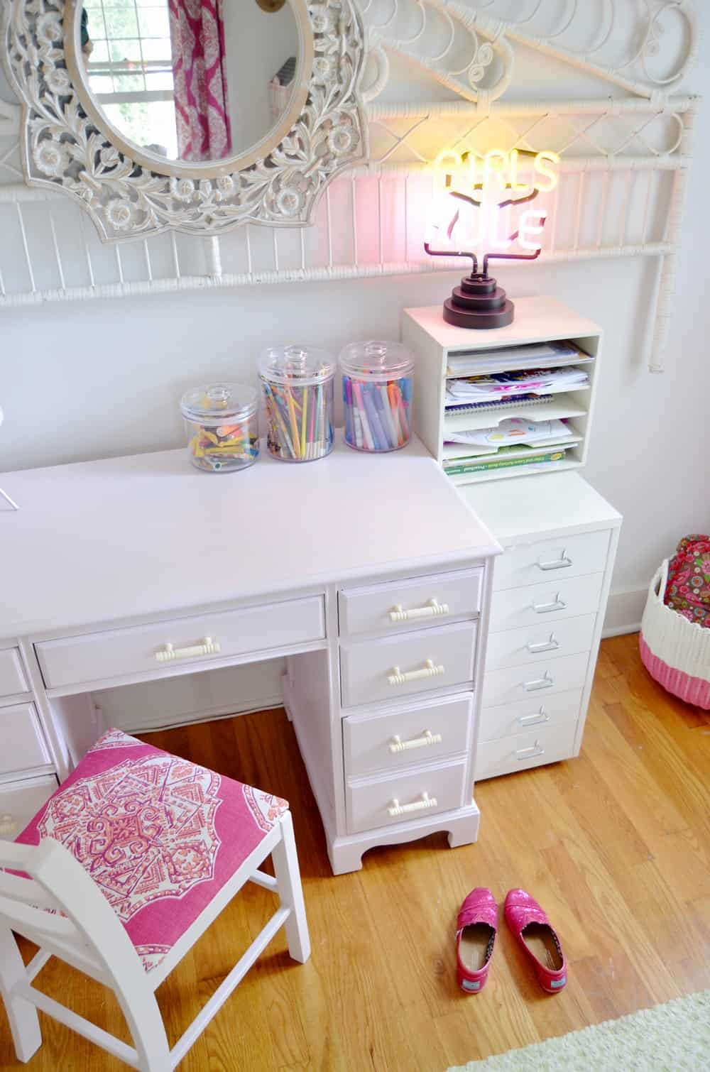 Refinished pink desk for a little girls thrifted room.