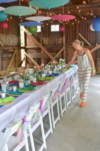 Decorating details to host a colorful rustic barn party.