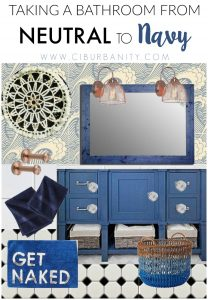 vision board for taking a neutral bathroom to navy.