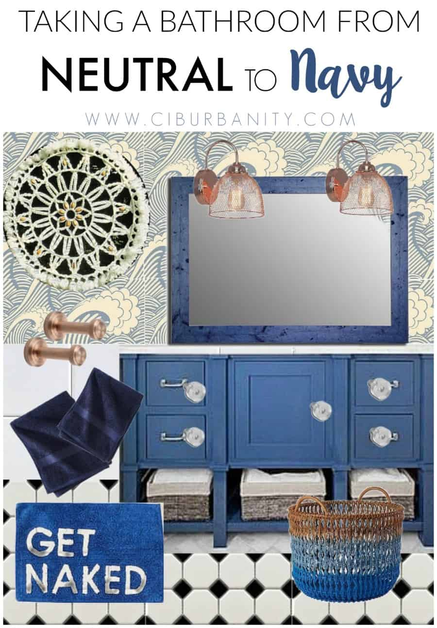 design board for taking a neutral bathroom to navy.