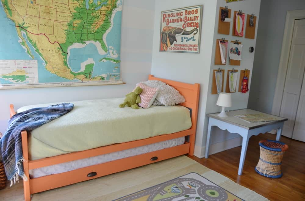 Little boys room with DIY trundle bed and flea market scores