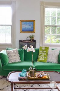 boho-living-room-with-green-couch