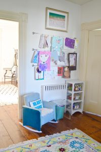 Colorful playroom with thrifted and repurposed decor.