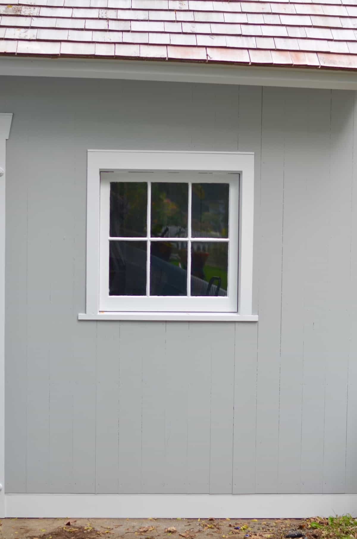 Backyard shed makeover- adding window boxes.
