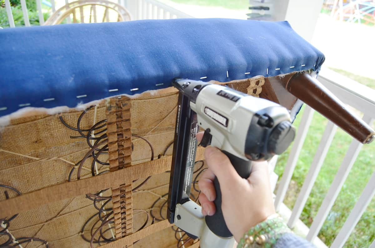 Step by step tutorial for upholstering an armchair.