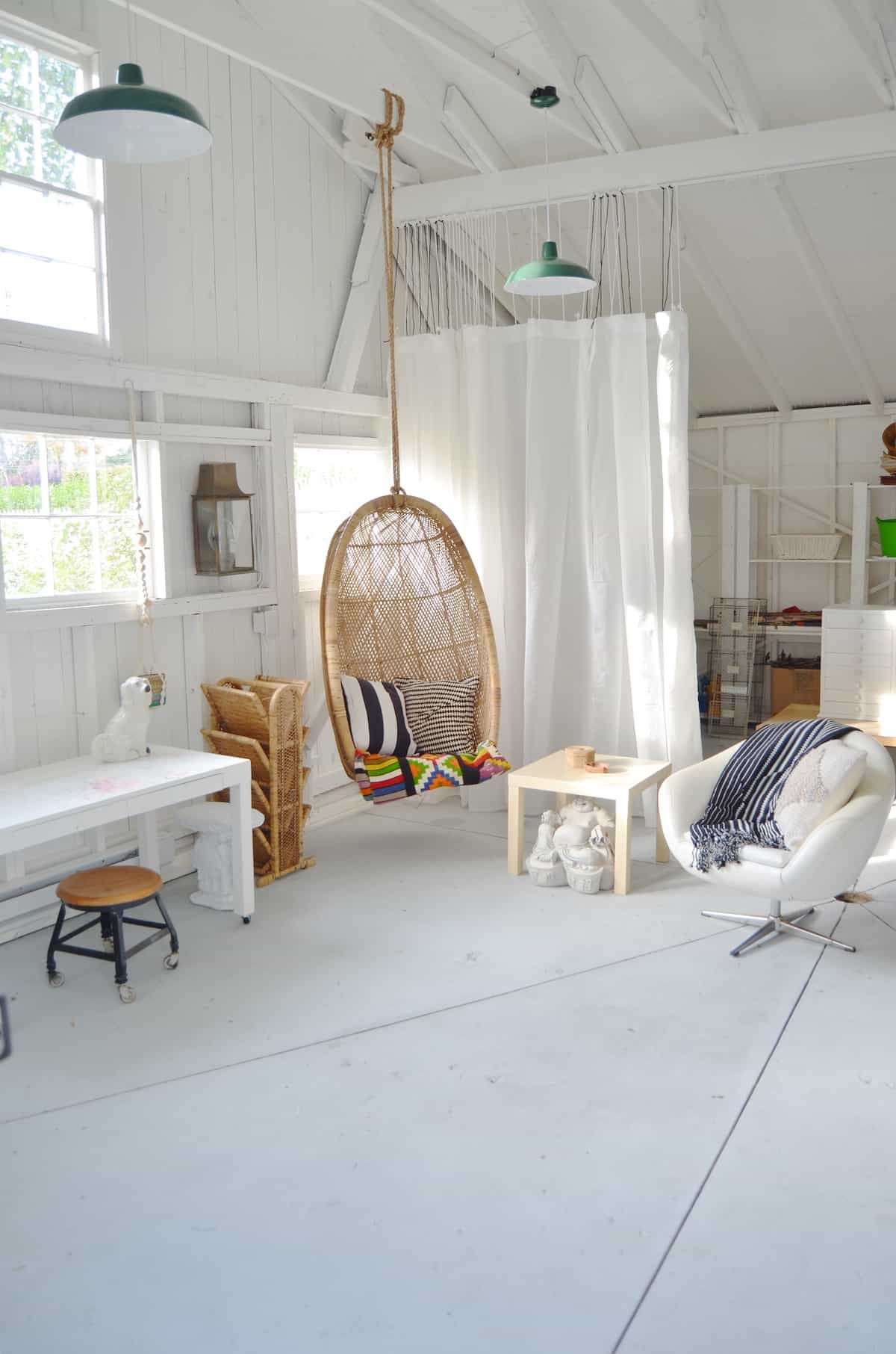 One room challenge shed makeover- painted floors!