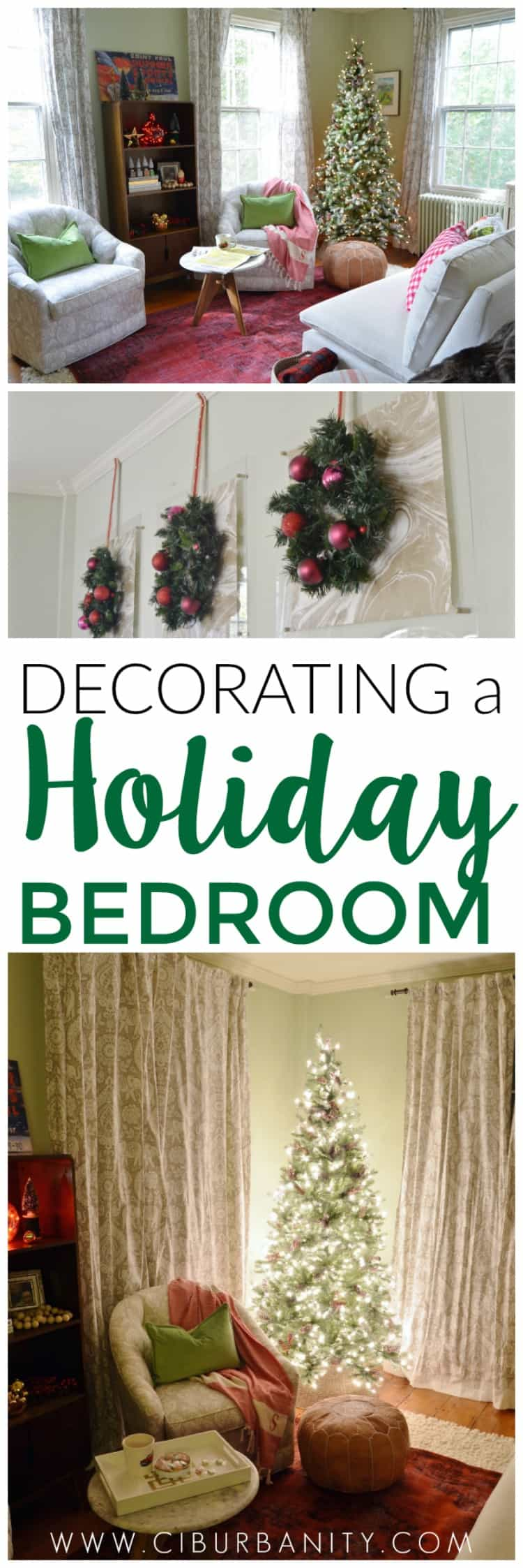 I love how festive and relaxing this bedroom looks decorated for Christmas.