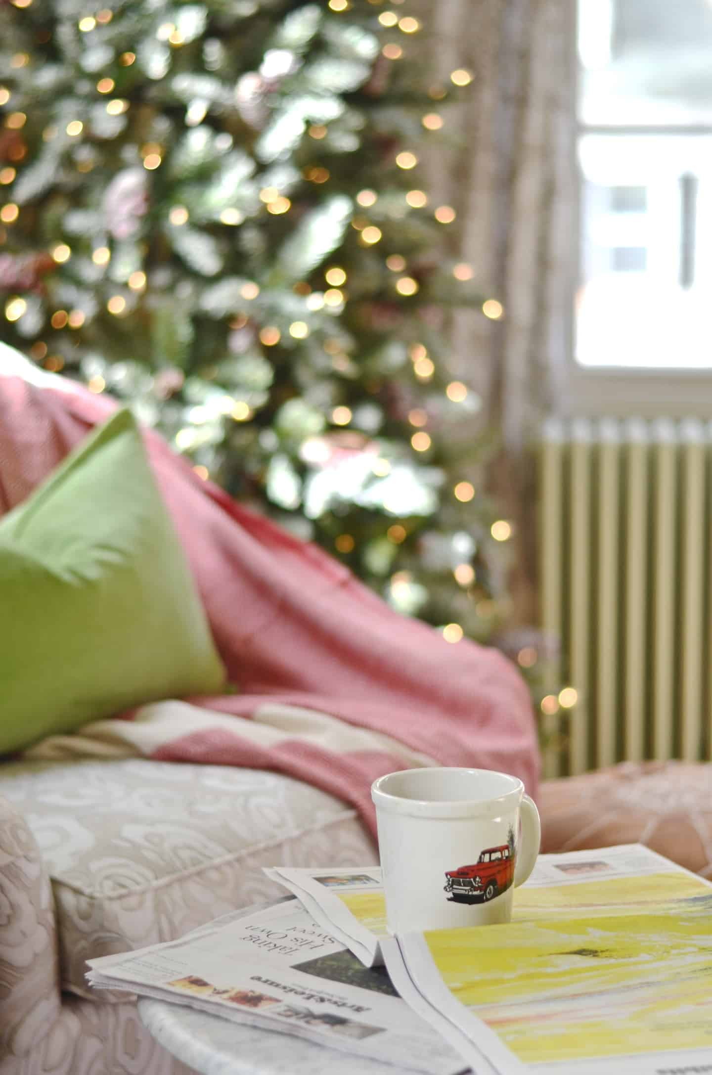 Festive holiday master bedroom in classic green and red.