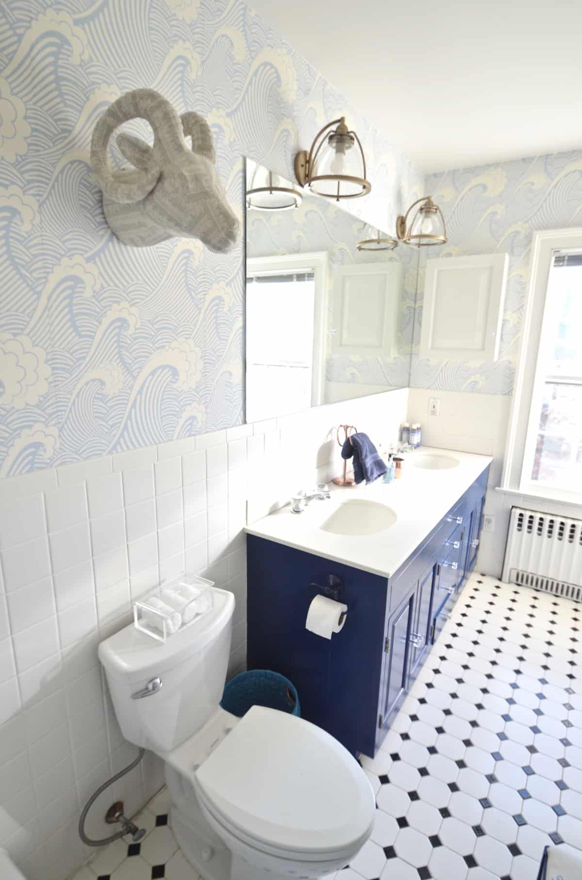 Blue bathroom update at charlotte 39 s house for Small bathroom updates