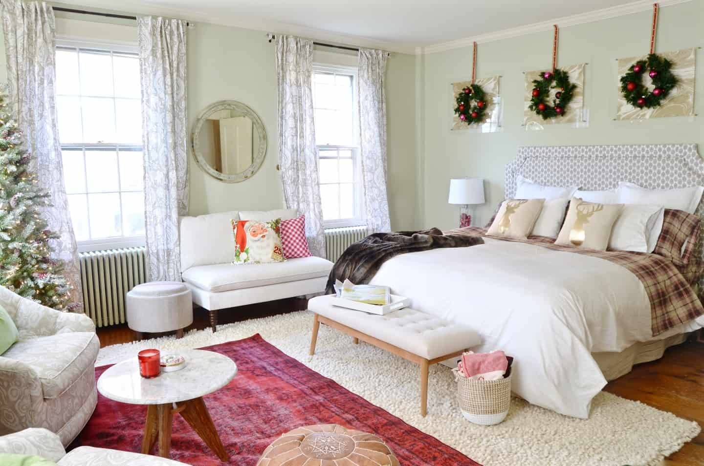 New England holiday house tour with lots of Christmas trees and classic red accents.