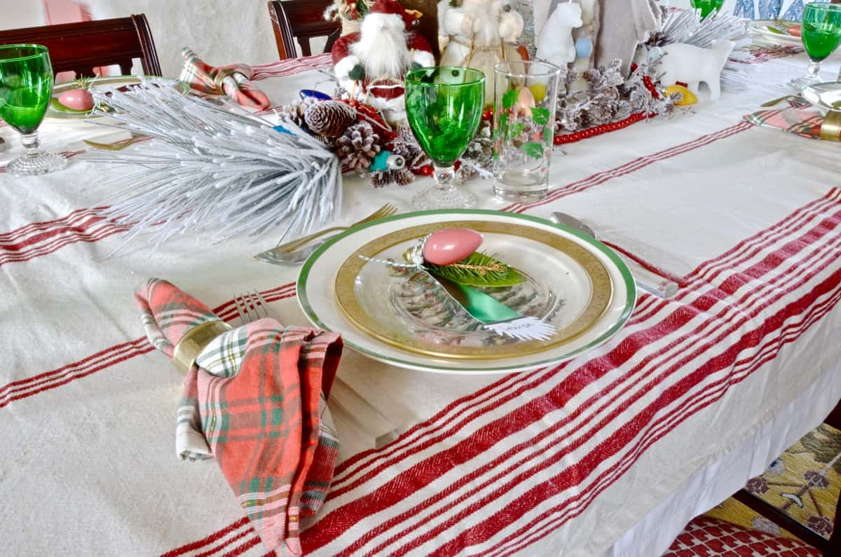 red and green christmas table for our eclectic blue and white dining room