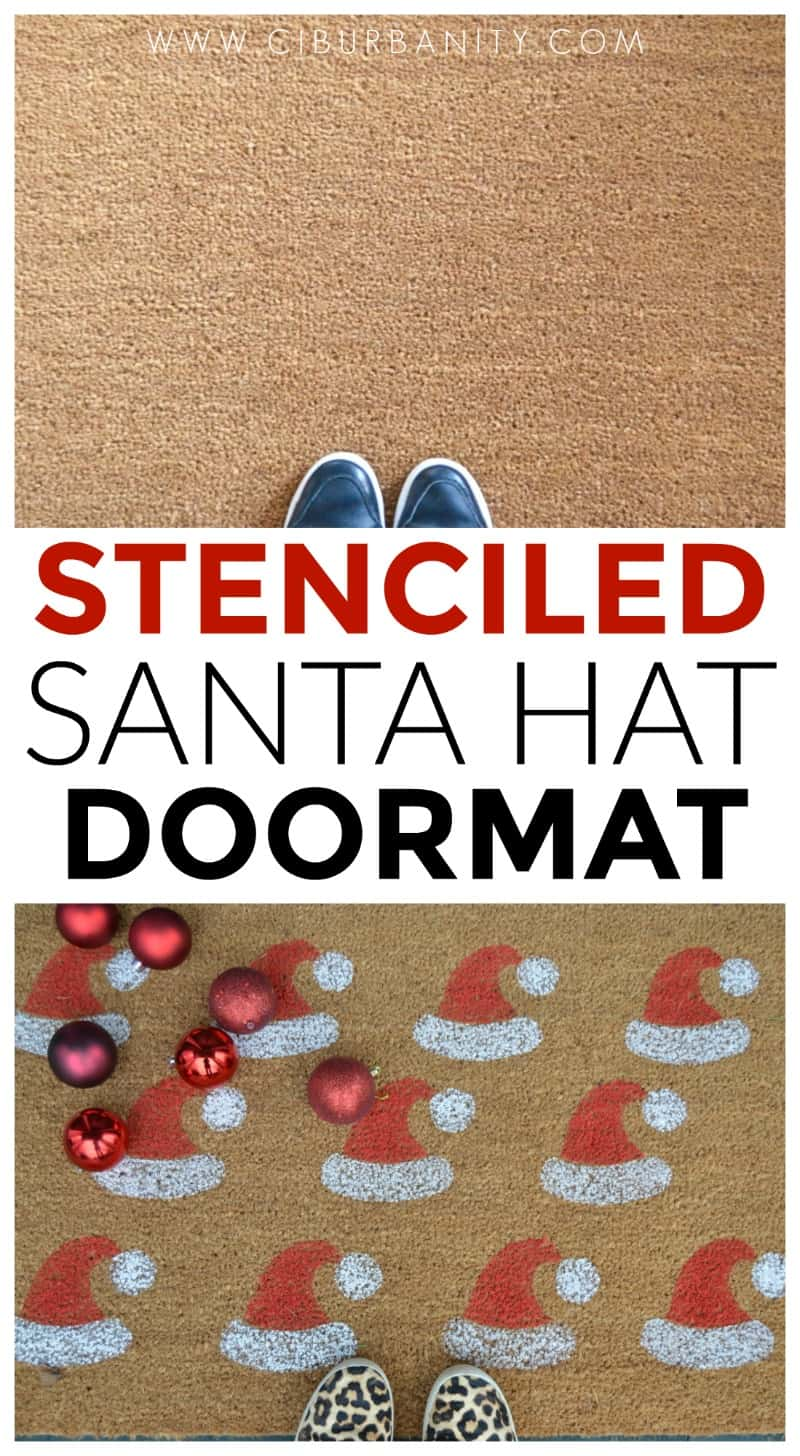 Stenciled santa clause door mat.