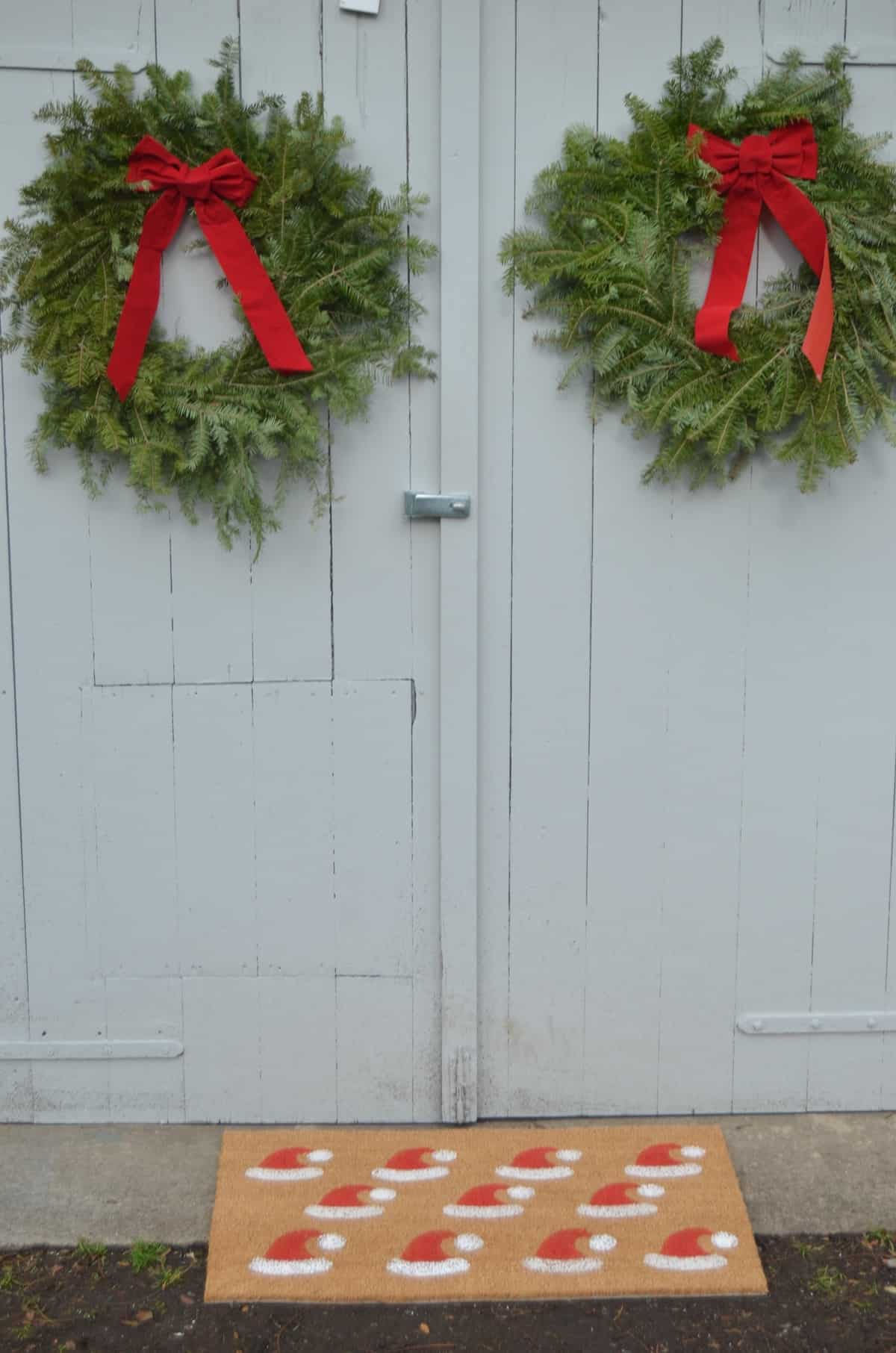 Stenciled santa clause door mat.