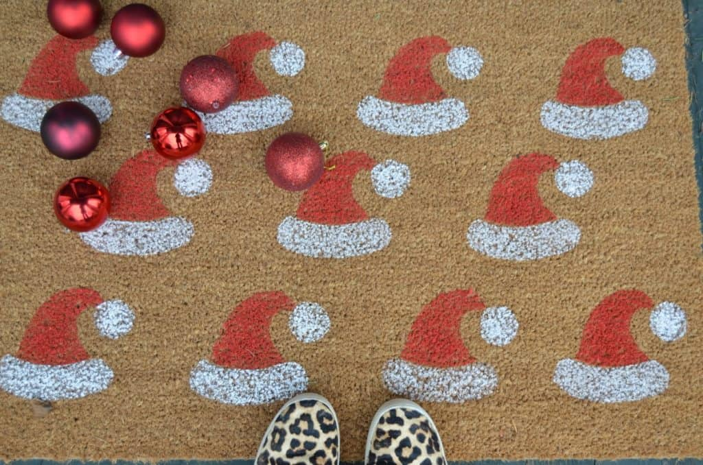 Stenciled Holiday Door Mat