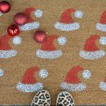 stenciled santa hat doormat