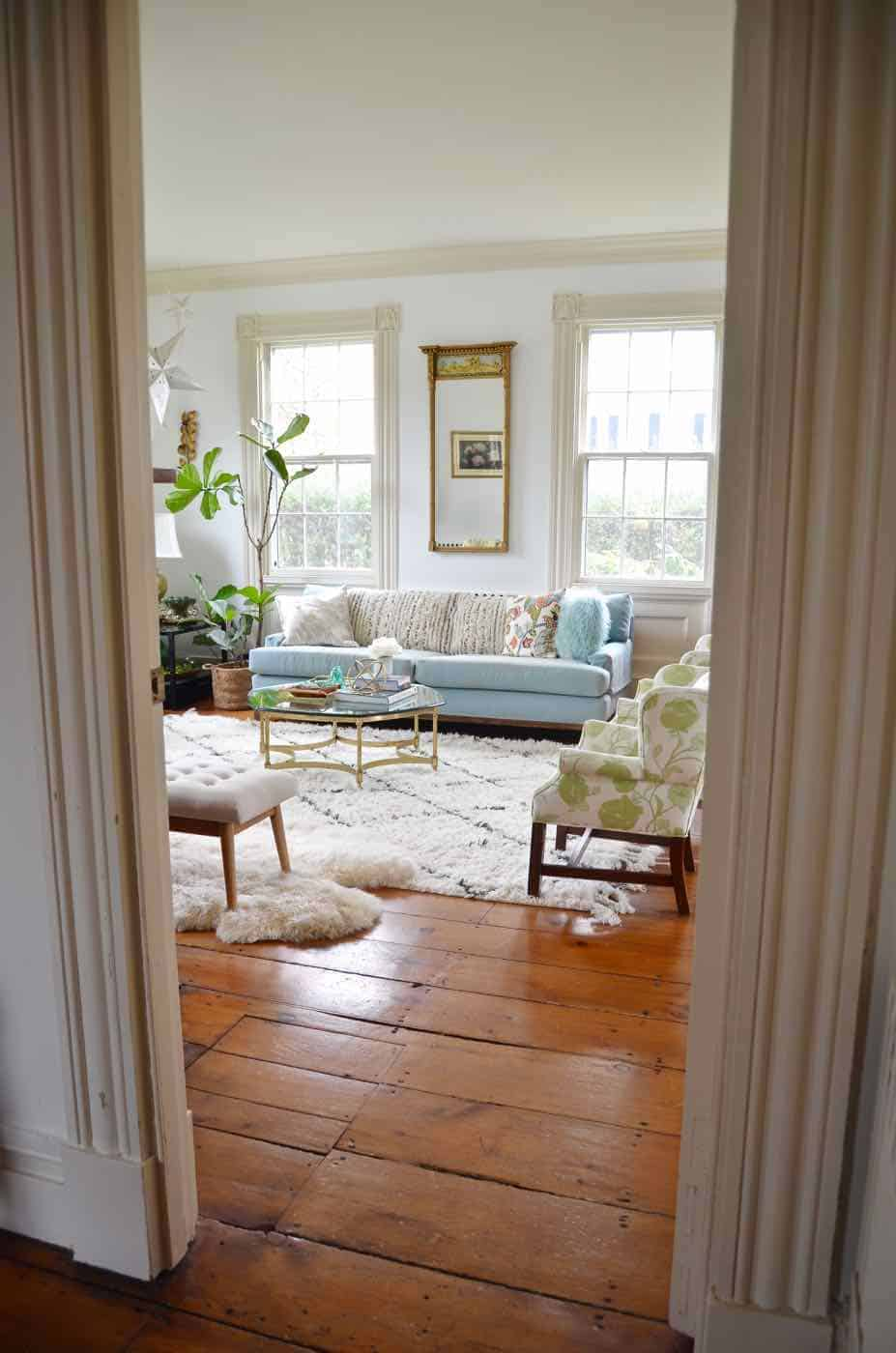 Living room refresh to open up the space and brighten the room.