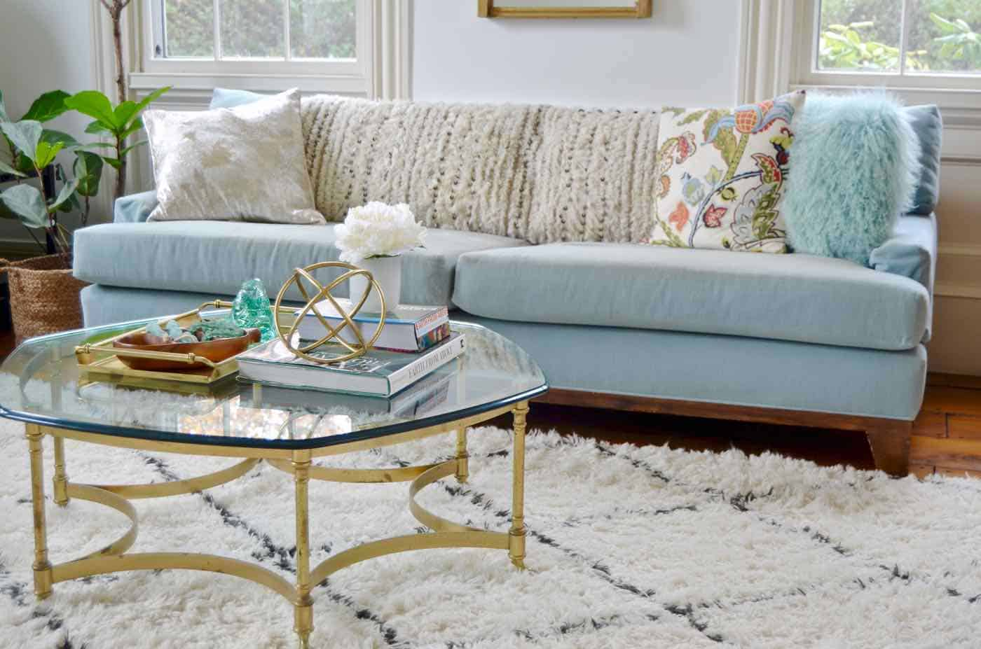 Glass coffee table in living room