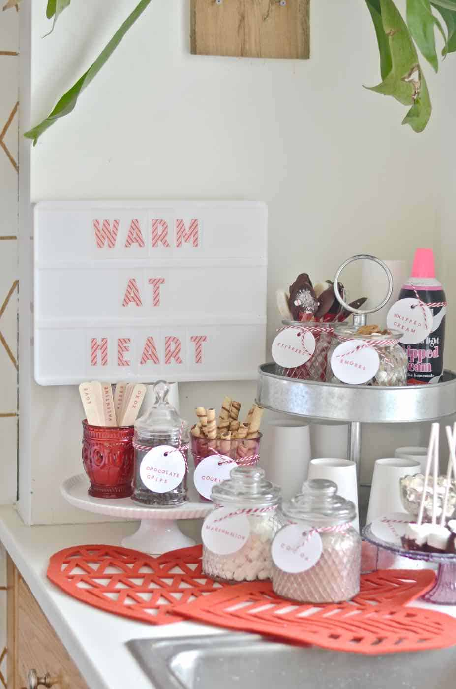 Make your own sweet and decadent DIY hot chocolate station.