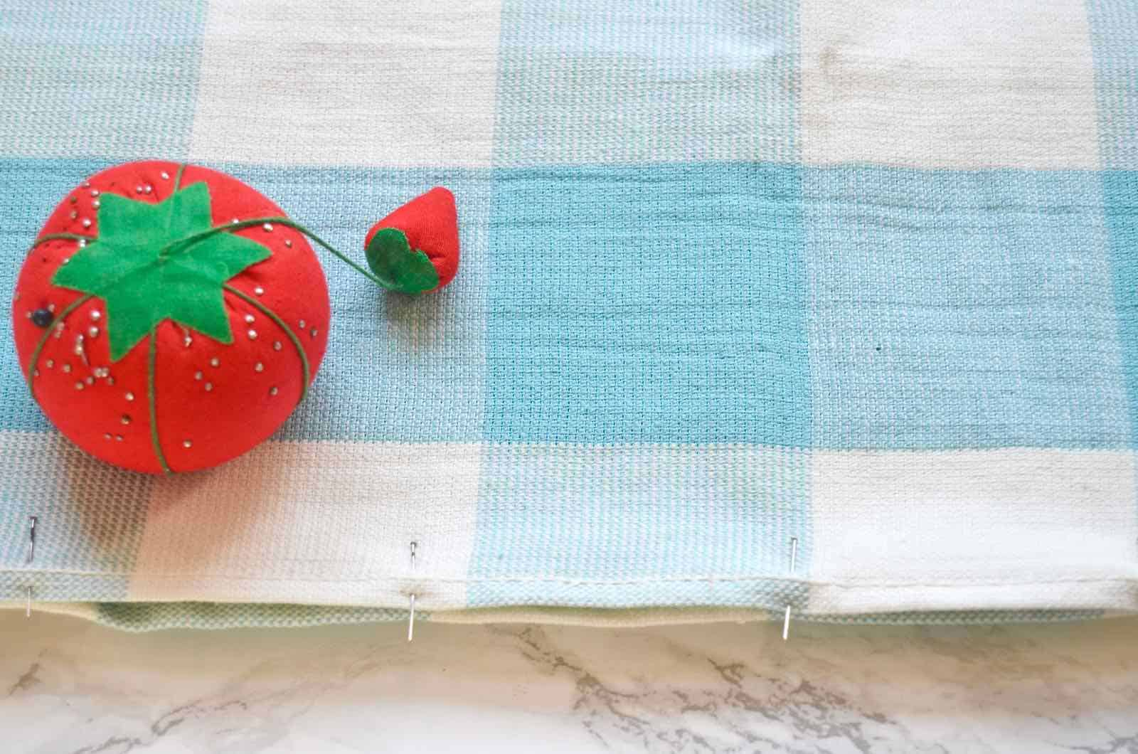 Turn dish towels into throw pillows with french seams.