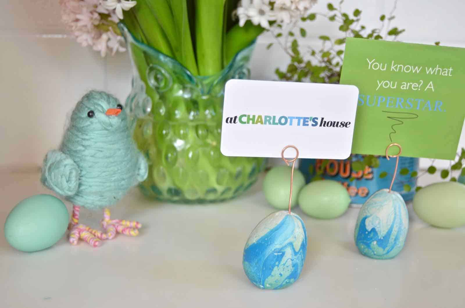 Plaster of paris DIY marbleized easter egg place card holders.