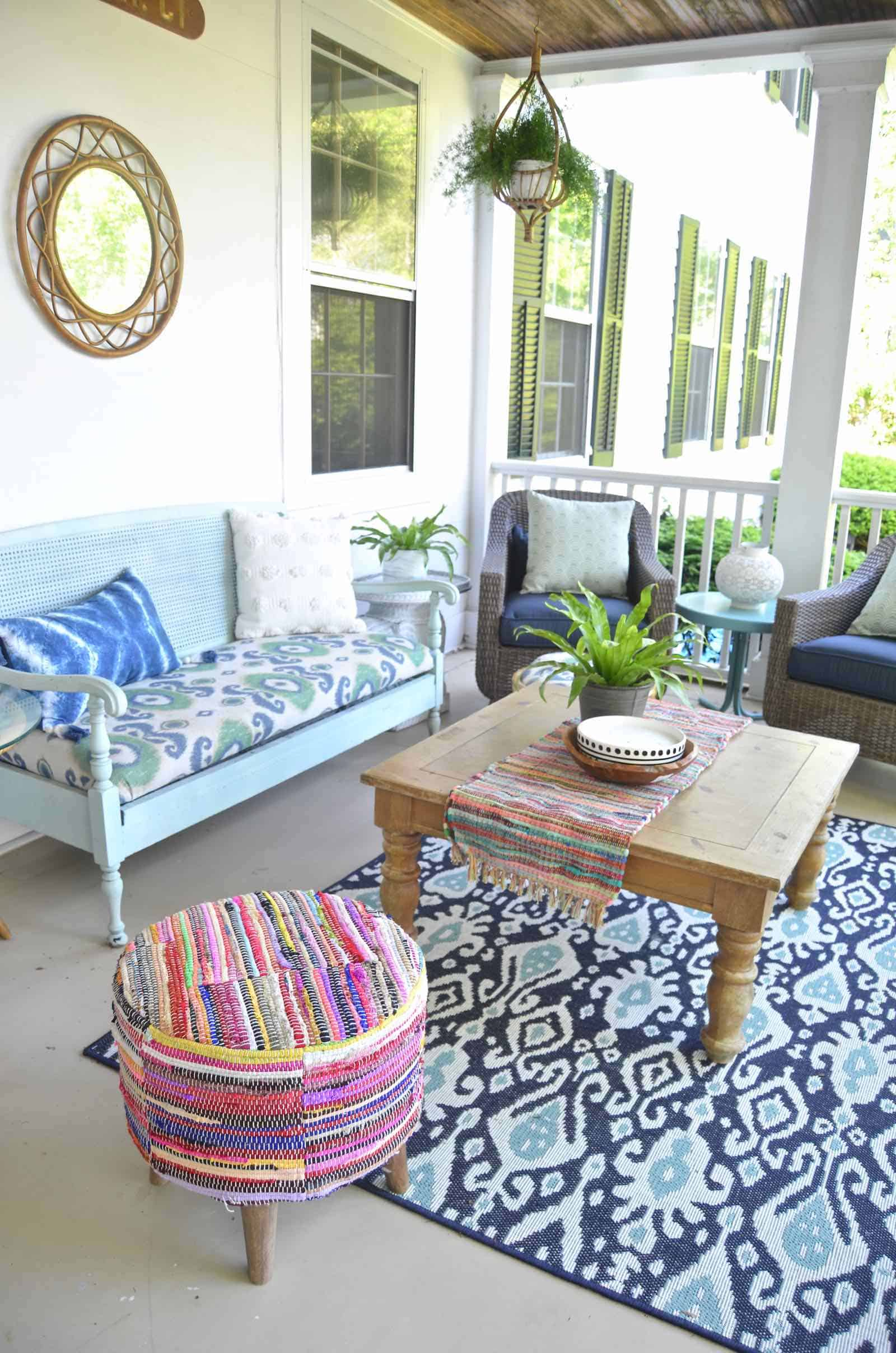 Summer back porch refresh... new seating, new accessories, new season!
