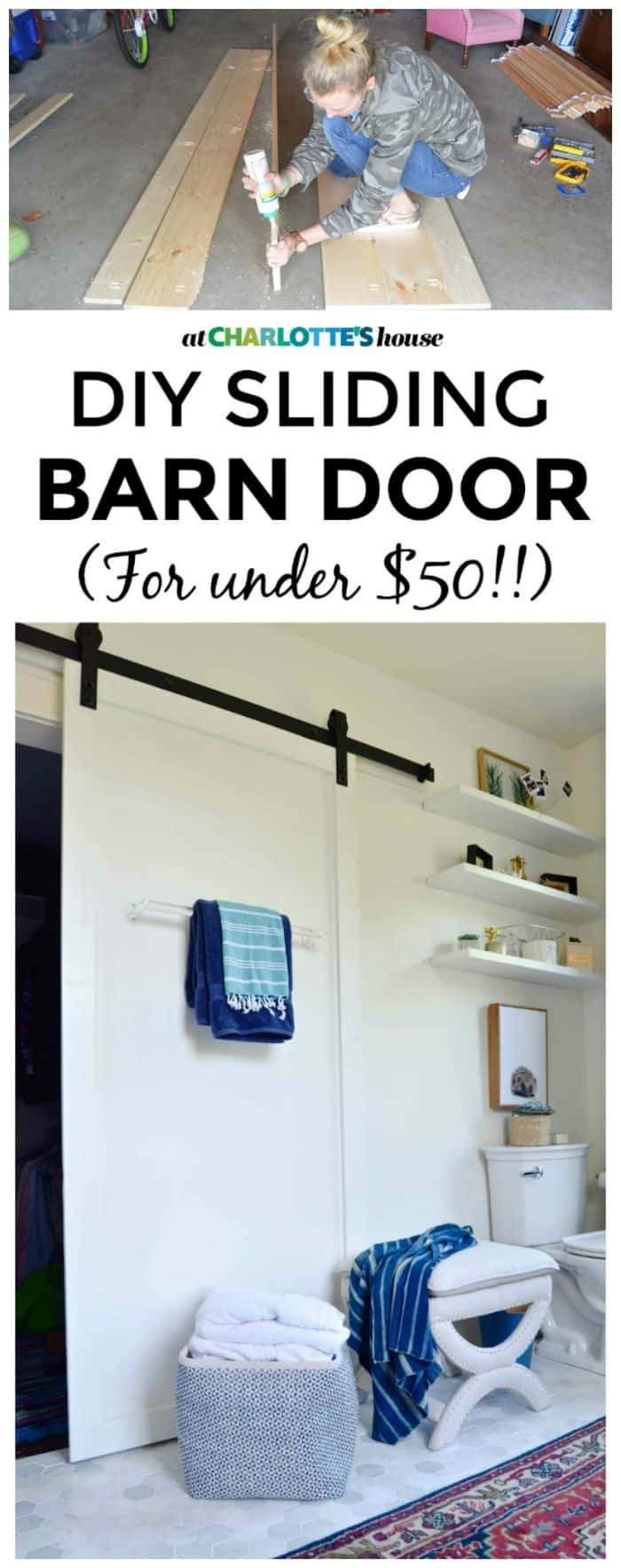 Simple tutorial for how to build a custom sliding barn door for UNDER $50.