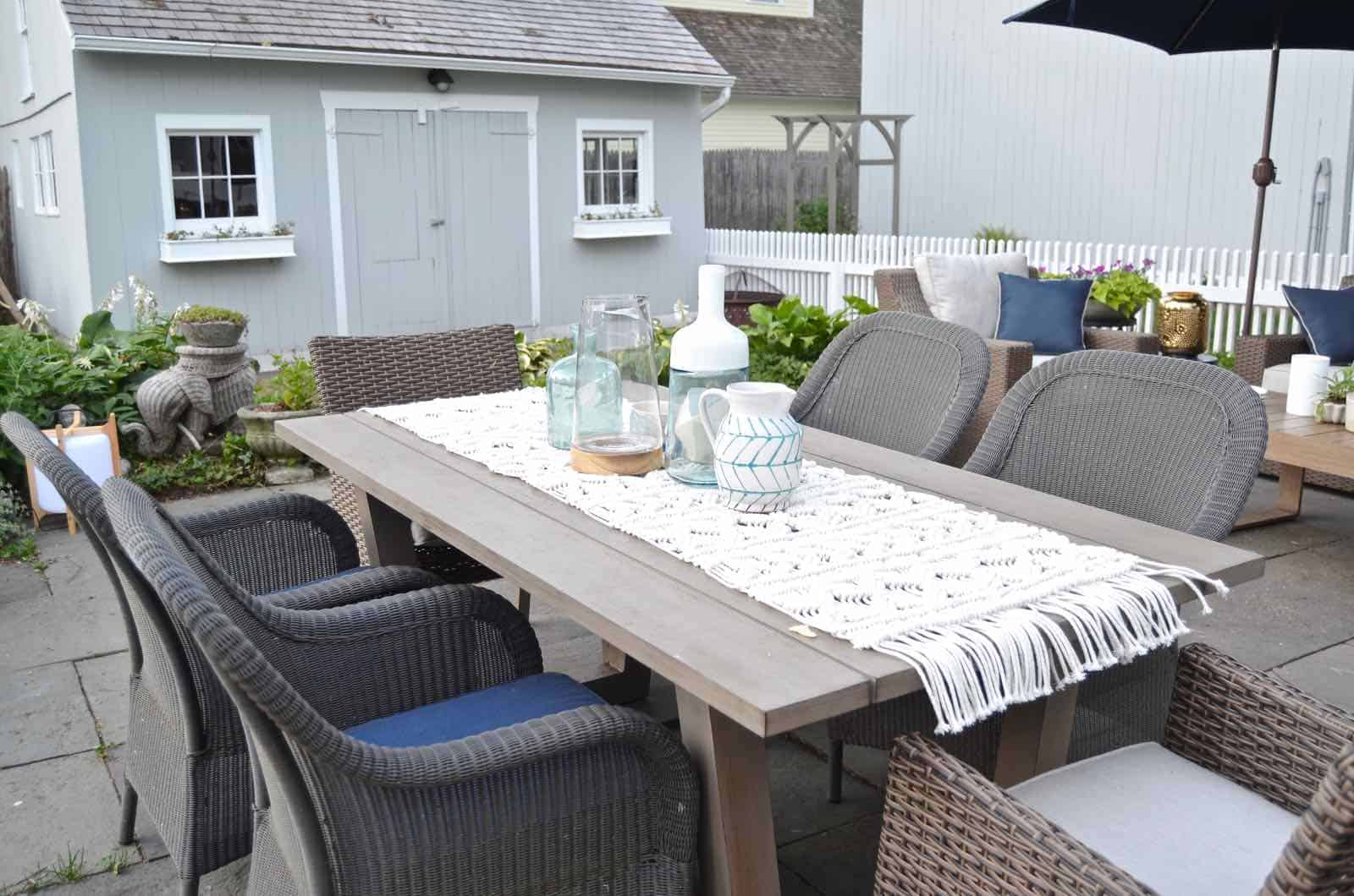 Phase 1 of our patio reveal... family friendly and cohesive furniture for the summer.