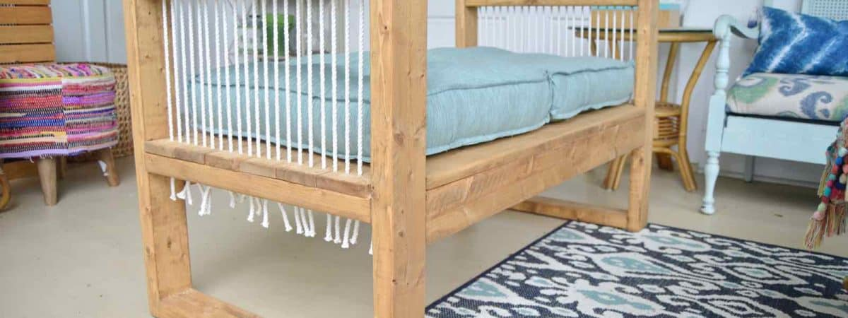 Outdoor Rope Bench- 2×4 and More with Remodelaholic