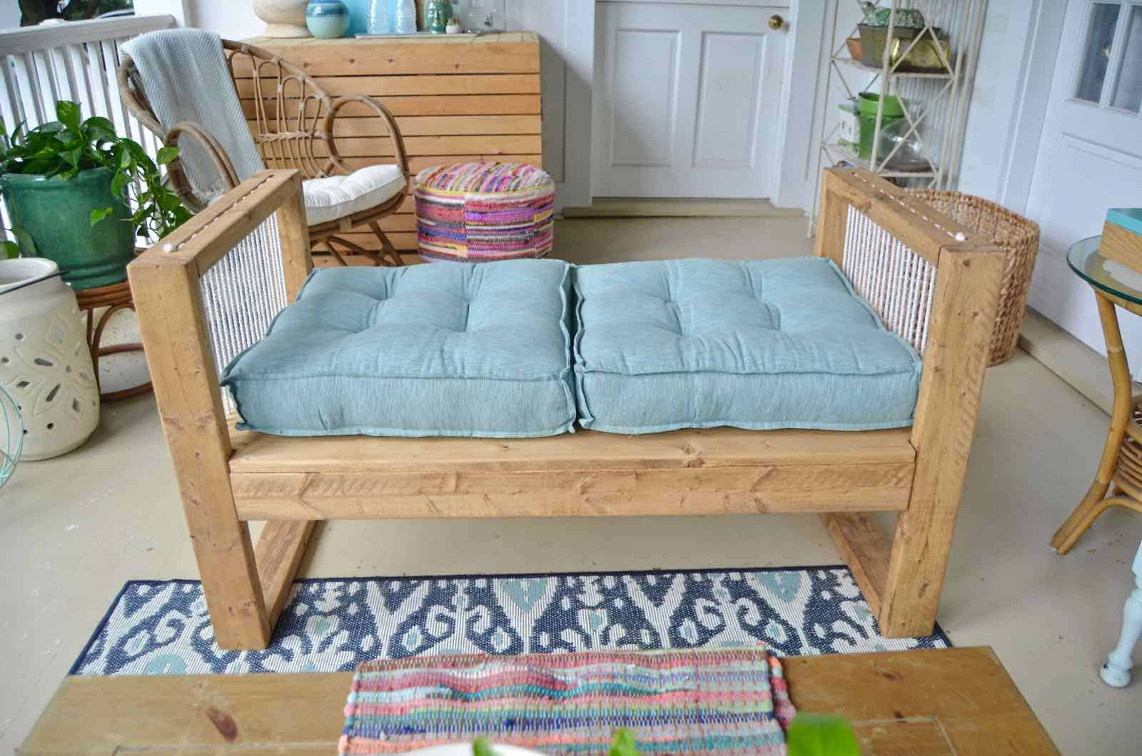 DIY bench made out of 2x4s with chic rope detail