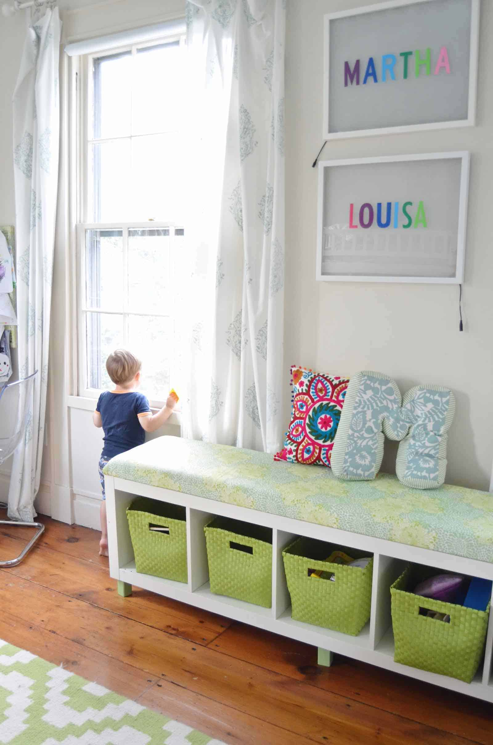 upholstered bench in shared kids room