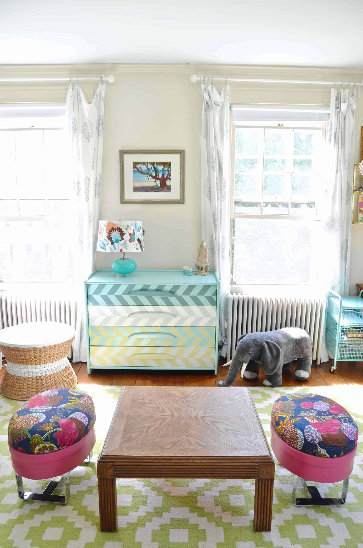 rainbow colored little girls room