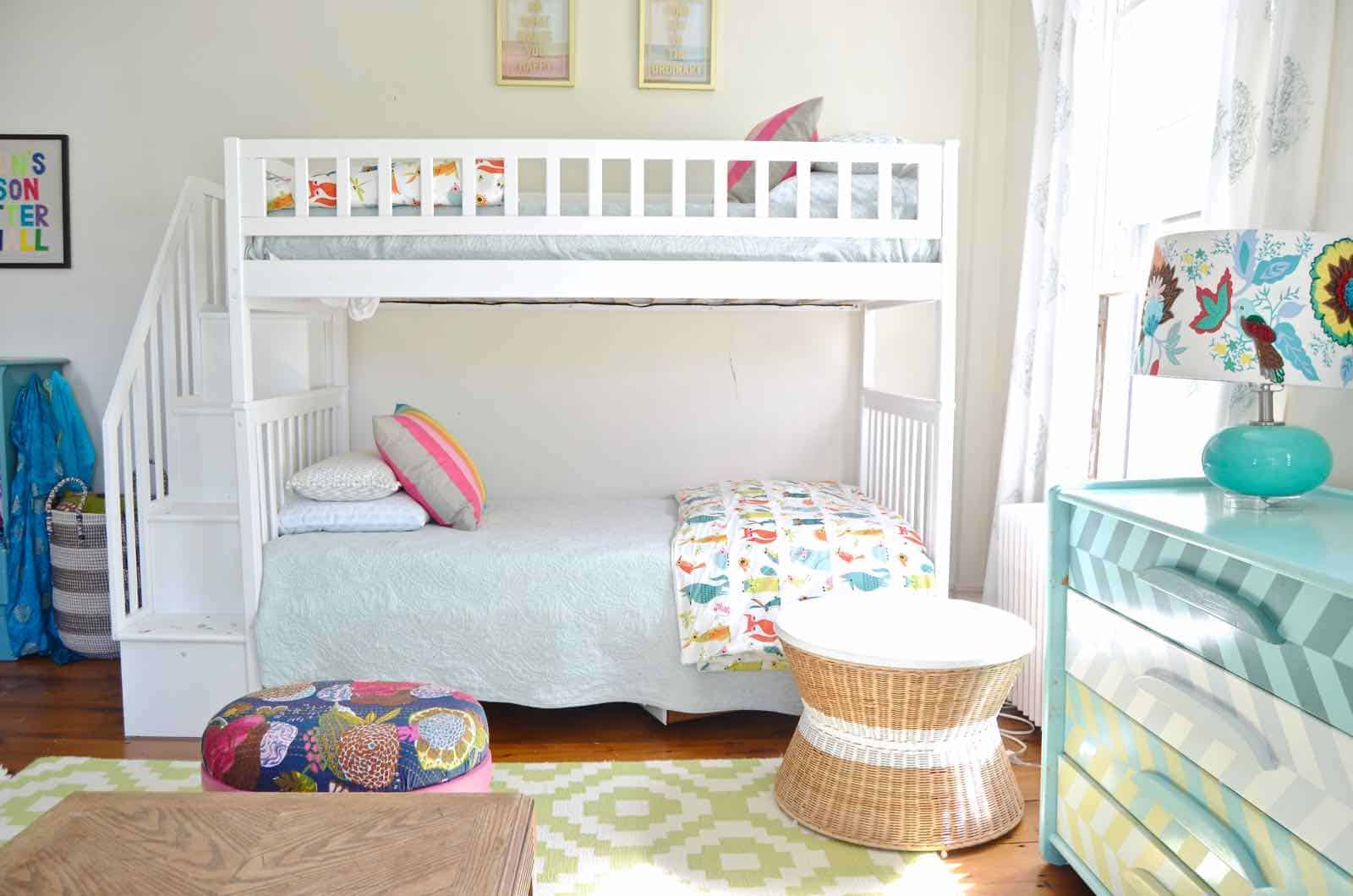 bun beds with fun kids bedding