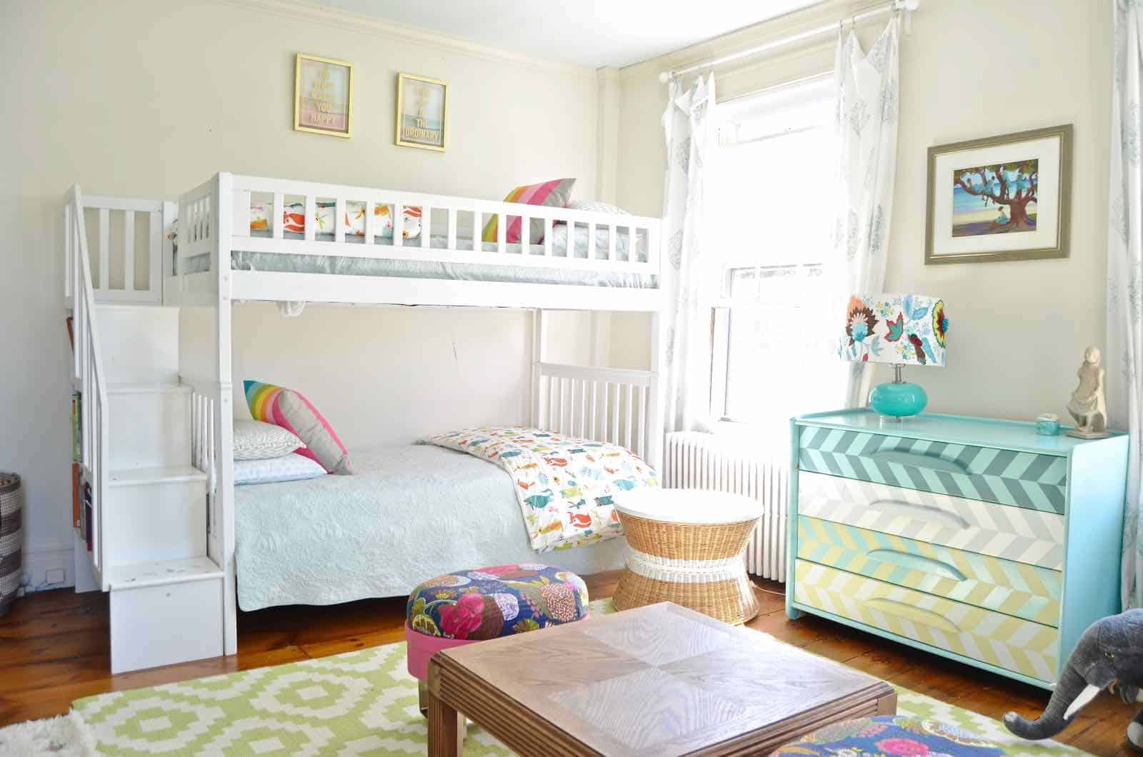 bunk beds in shared girls room