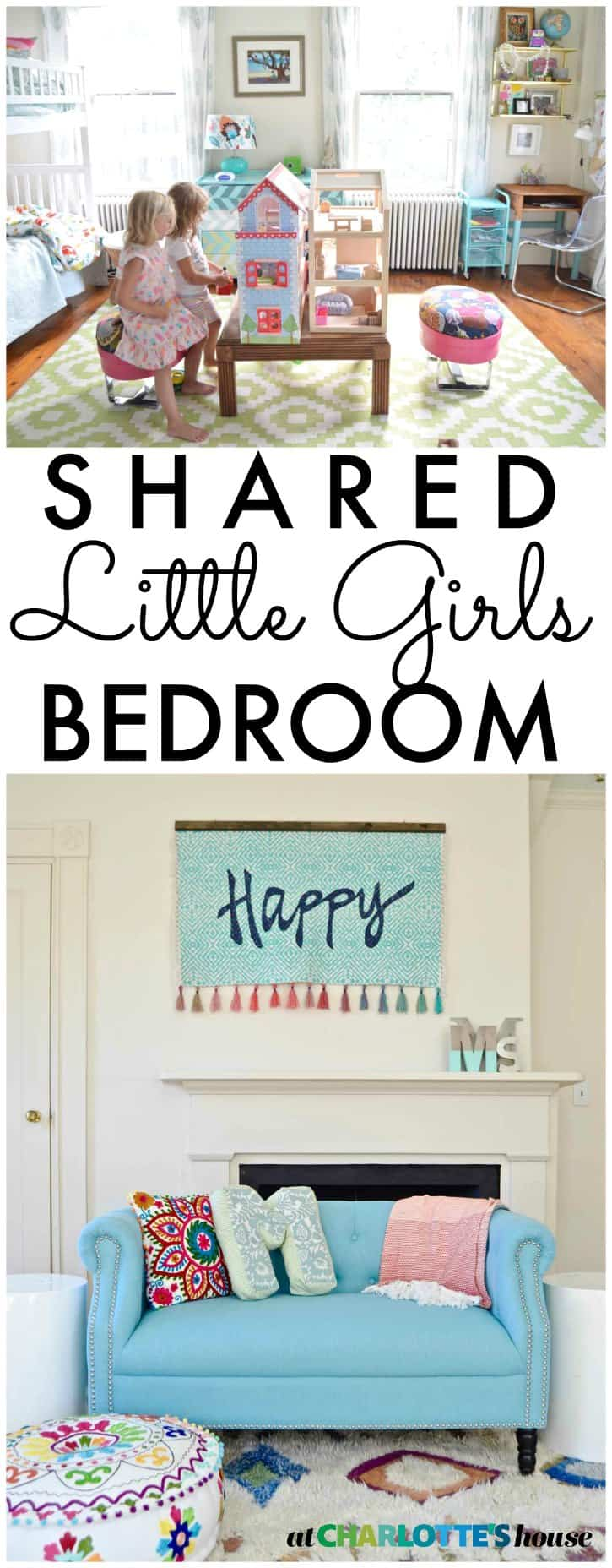 This bedroom is just what a little girl would ask for: rainbows and doll houses and their name in lights!