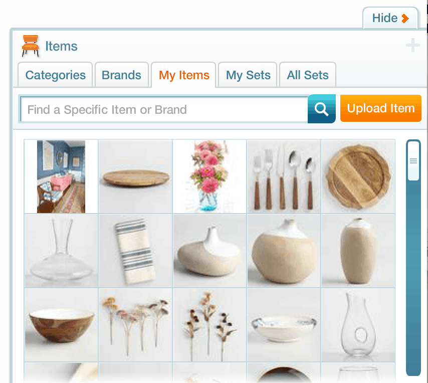 items on olioboard for design board