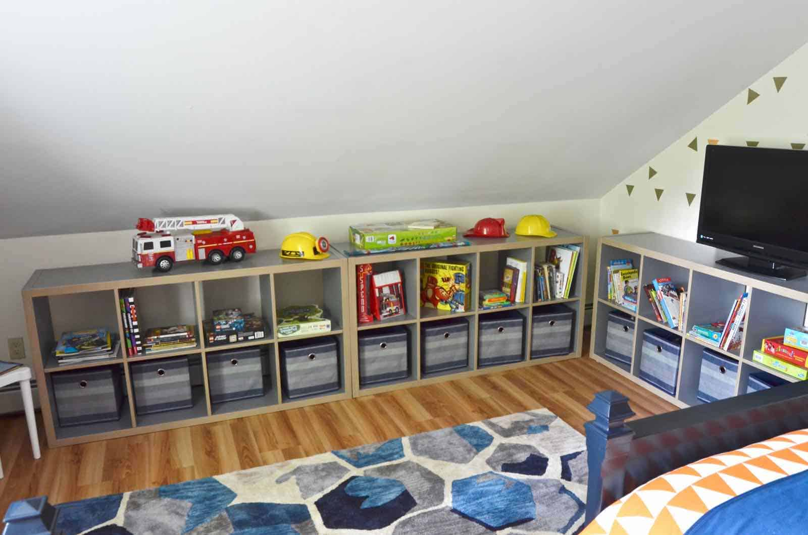 shelving for shared boys room