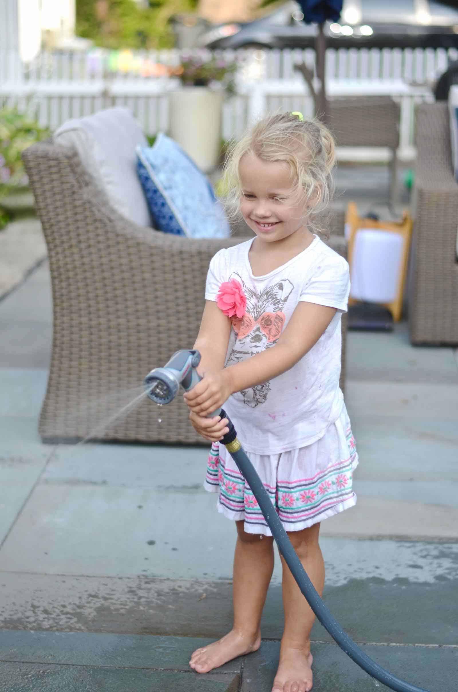 watering the backyard