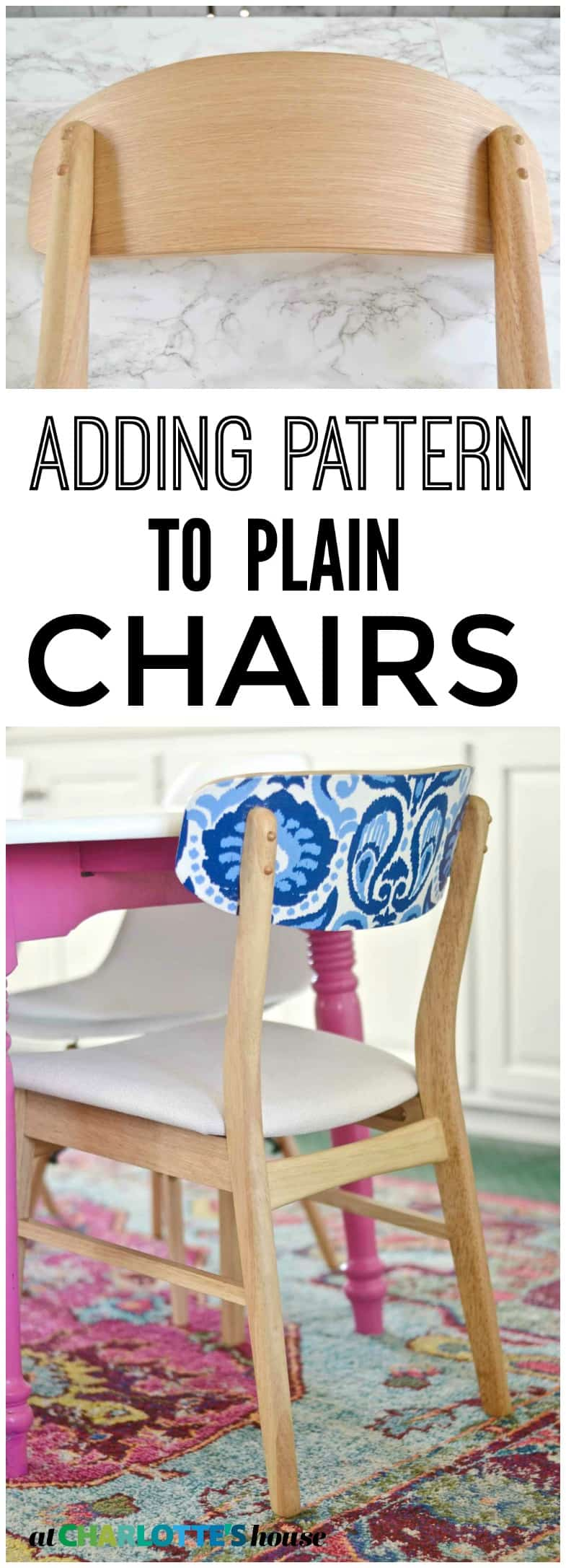 how to update kitchen chairs with FABRIC!